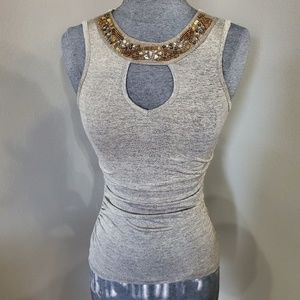 Macy's BCX Beaded Fitted Tank Shell